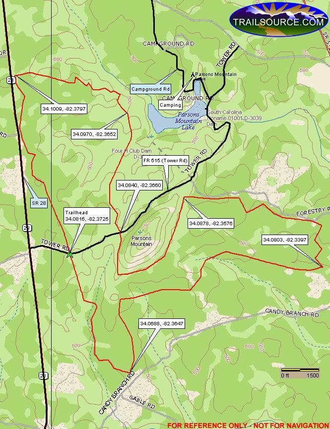 Parsons Mountain ORV Trail Dirt Biking Map