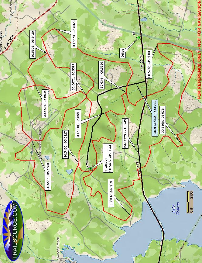 Sam Houston National Forest - East Side Dirt Biking Map
