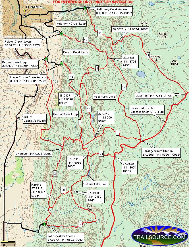 Antimony Lake Trail Dirt Biking Map