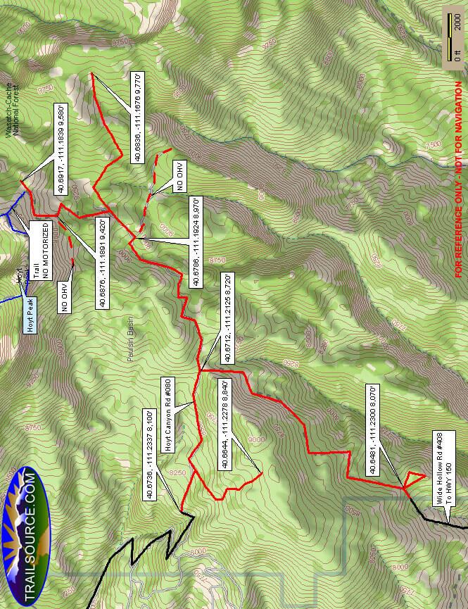 Hoyt Peak Riding Trail Dirt Biking Map