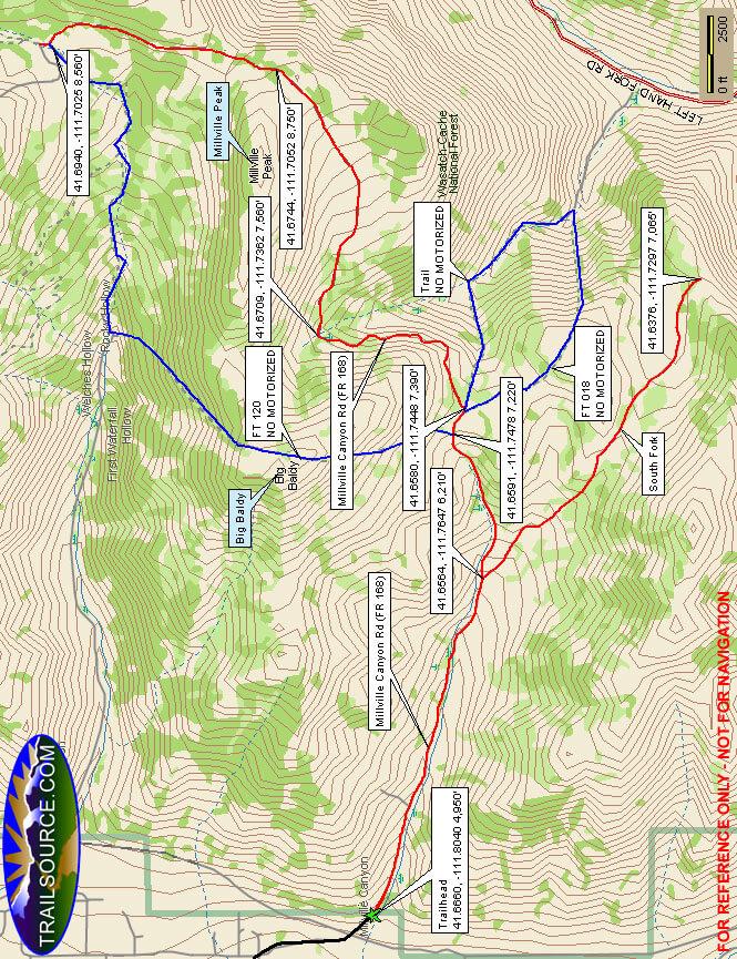 Millville Canyon Trail Dirt Biking Map