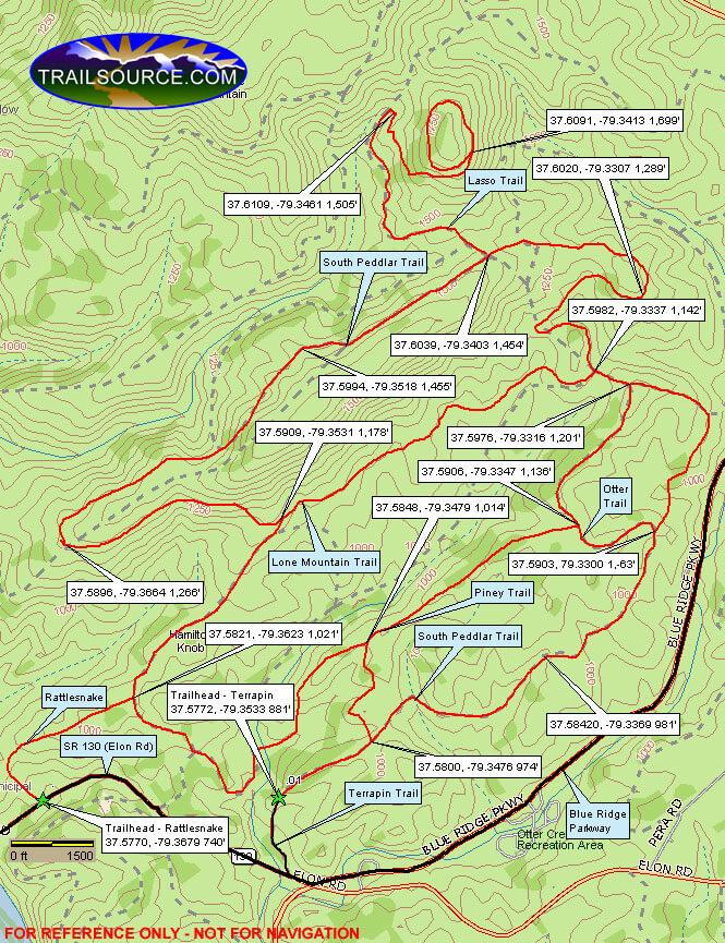 South Pedlar Trail Dirt Biking Map
