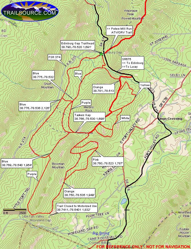 Taskers Gap Trail Dirt Biking Map