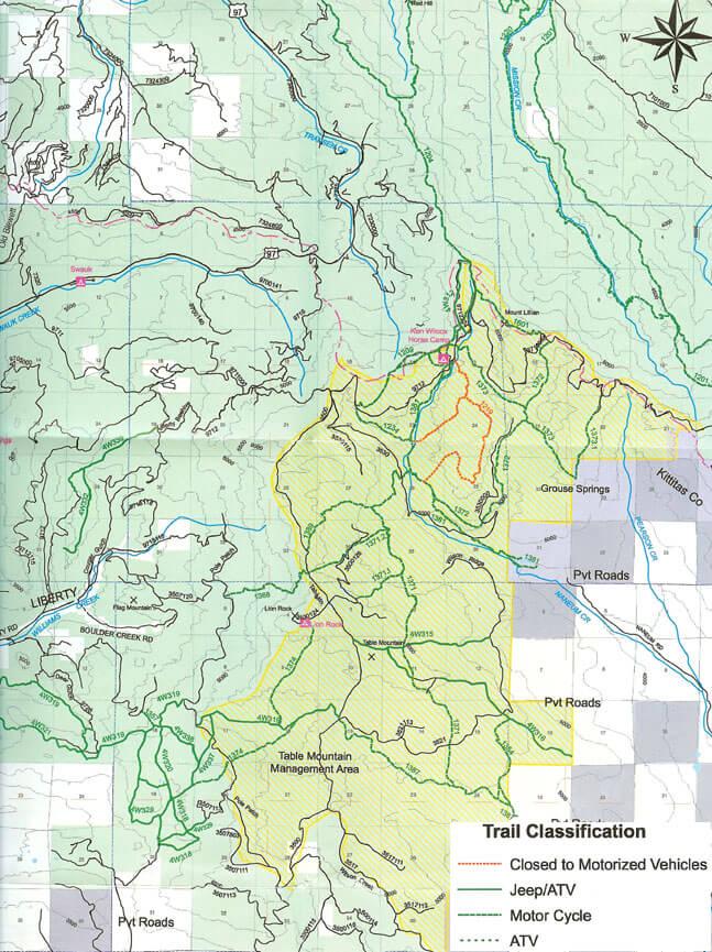 Table Mountain Dirt Biking Map