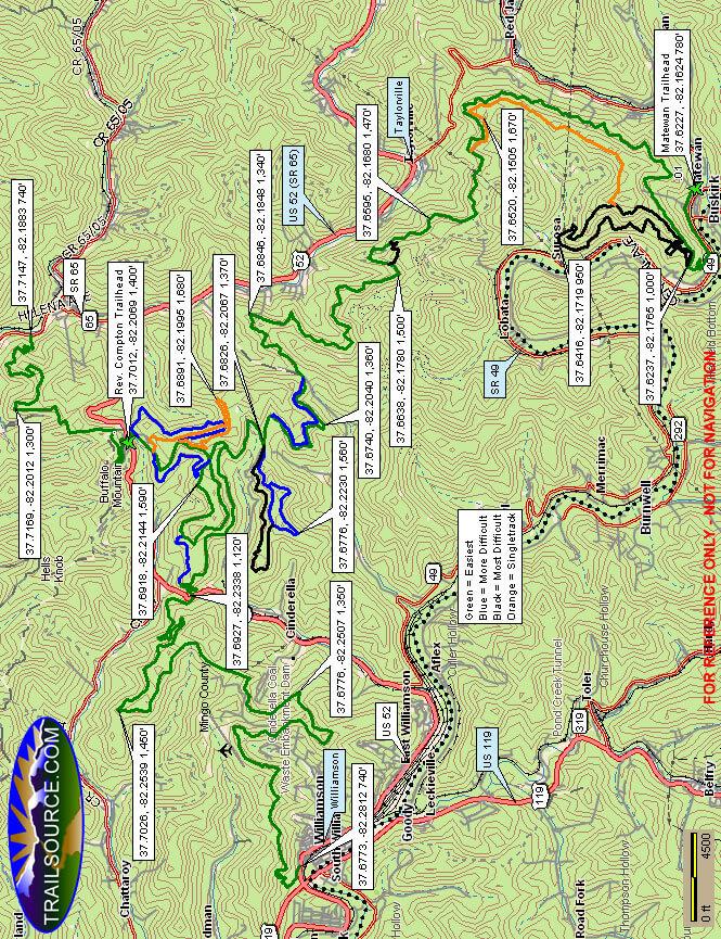 Buffalo Mountain Trails Dirt Biking Map