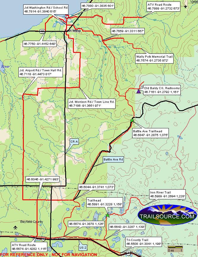 Battle Axe Trail Dirt Biking Map