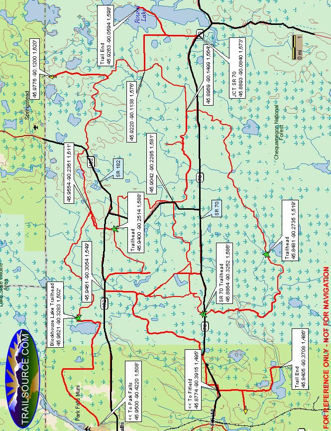 Flambeau Trail System Dirt Biking Map