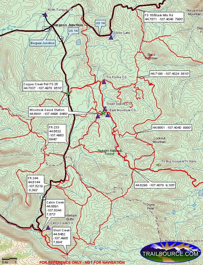 Burgess Junction Dirt Biking Map