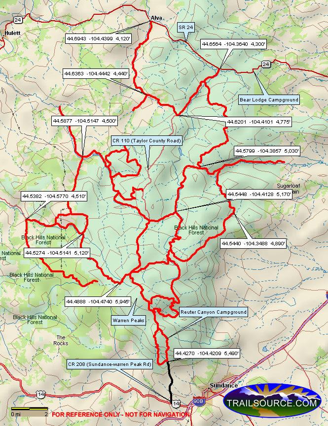 Bear Lodge Mountains Dirt Biking Map