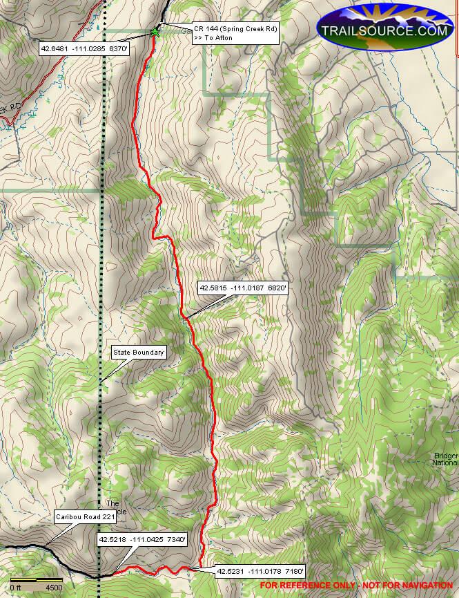 Spring Creek Trail Dirt Biking Map