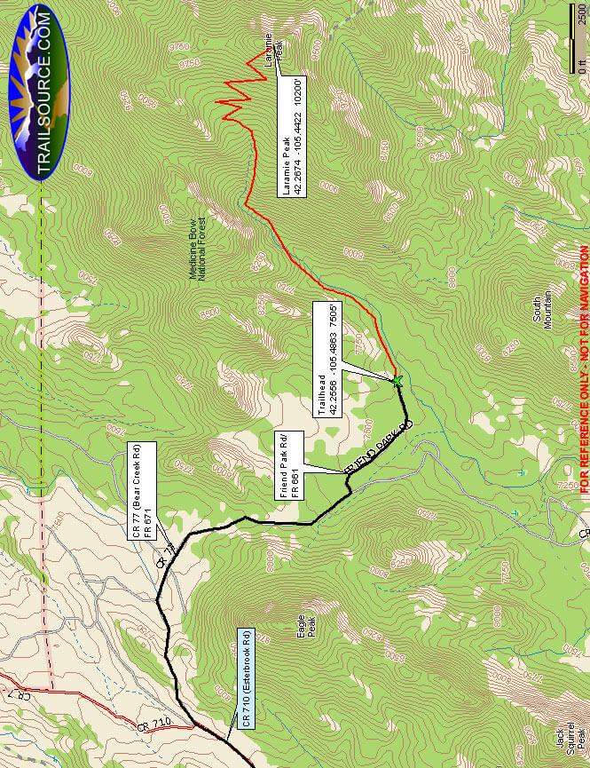 Laramie Peak Trail Dirt Biking Map
