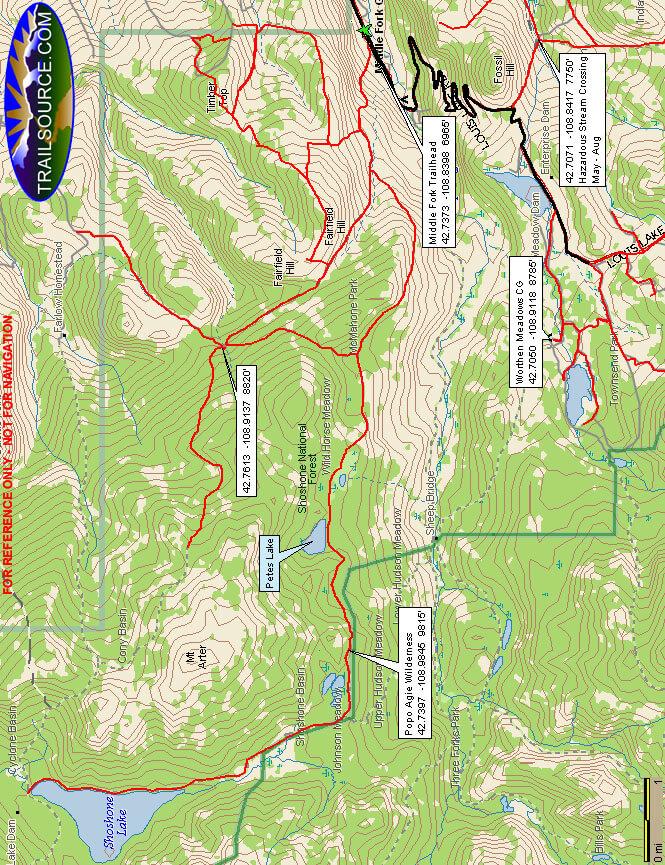 Shoshone Lake Trail Dirt Biking Map
