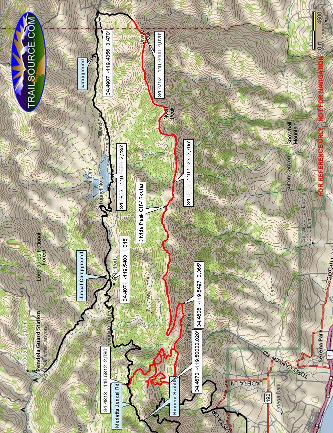 Divide Peak Road OHV Route Dirt Biking Map