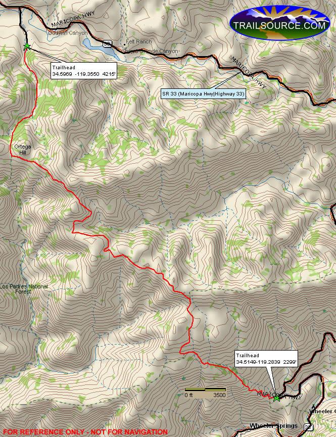 Ortega Trail Hiking Map