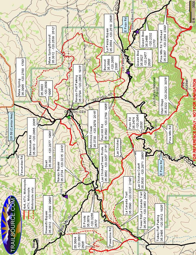 Pozo/La Panza Area - Pine Mountain Road ATV Trails Map