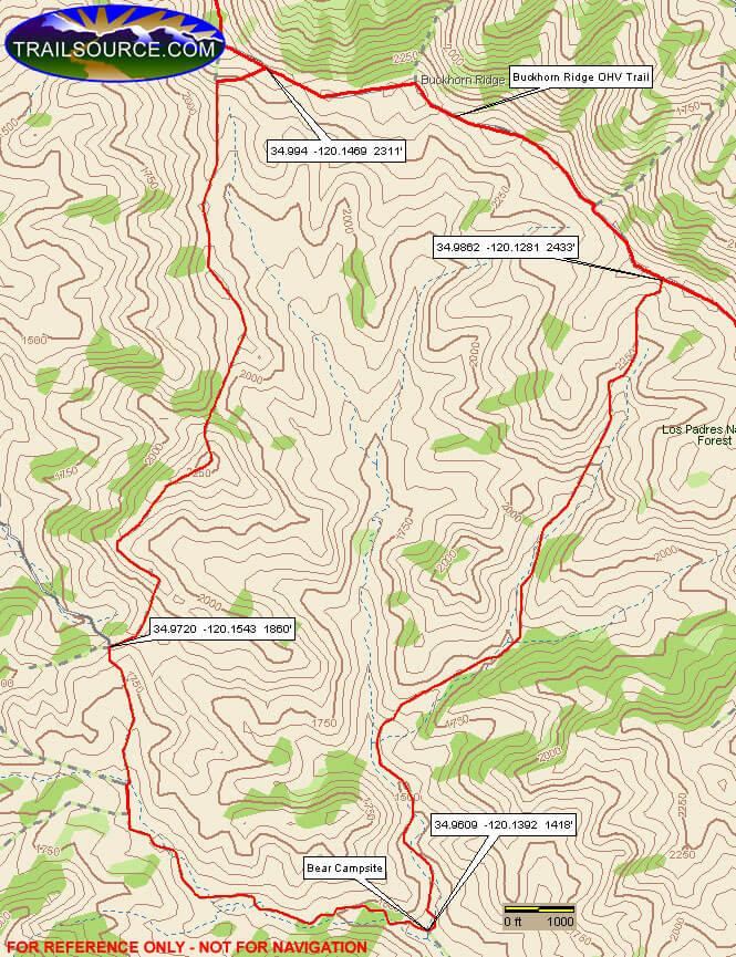 Buckhorn Ridge OHV Area - Bear Canyon Loop Dirt Biking Map