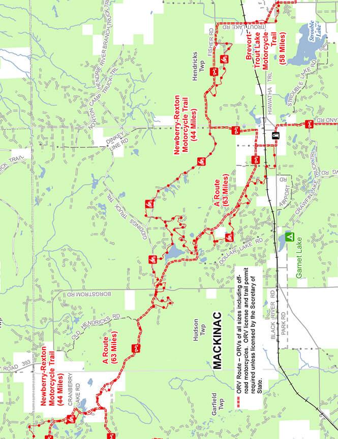 Newberry-Rexton Motorcycle Trail Dirt Biking Map