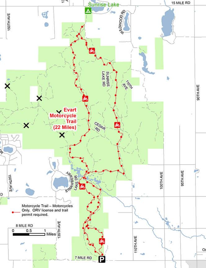 Evart Motorcycle Trail Dirt Biking Map
