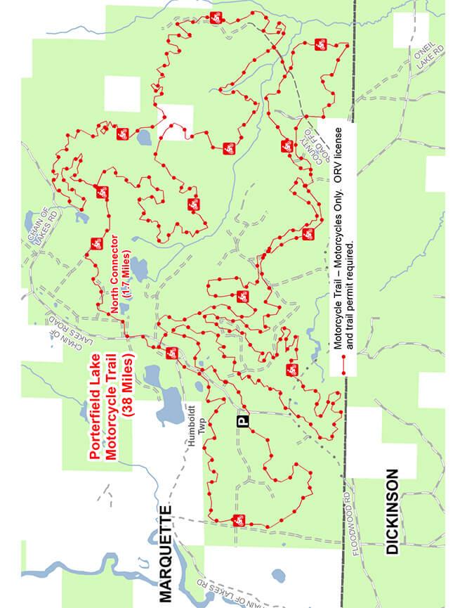 Porterfield Lake Motorcycle Trail Dirt Biking Map