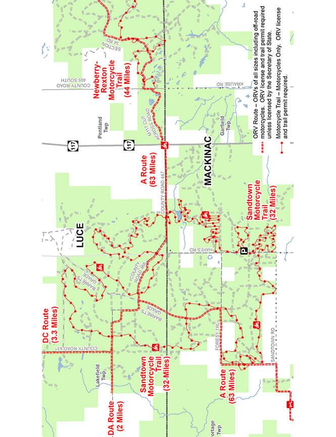 Sandtown Trail Dirt Biking Map