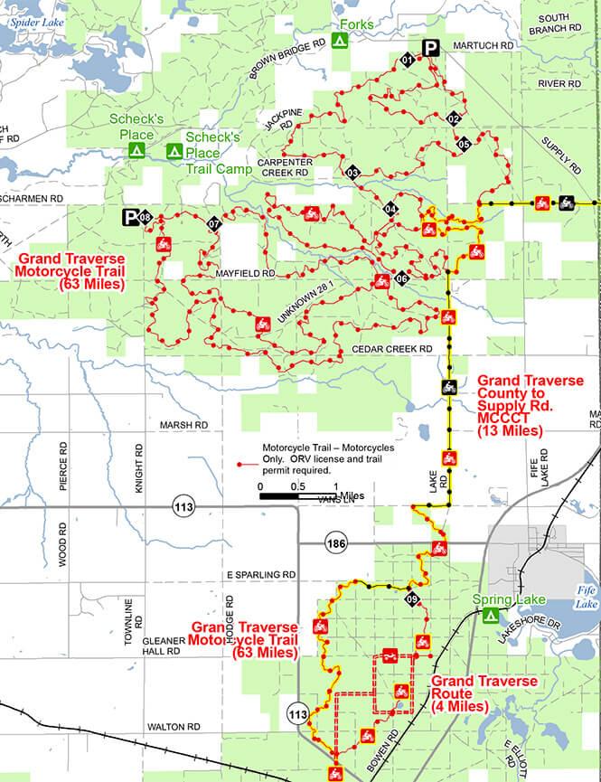 Grand Traverse Motorcycle Trail Dirt Biking Map