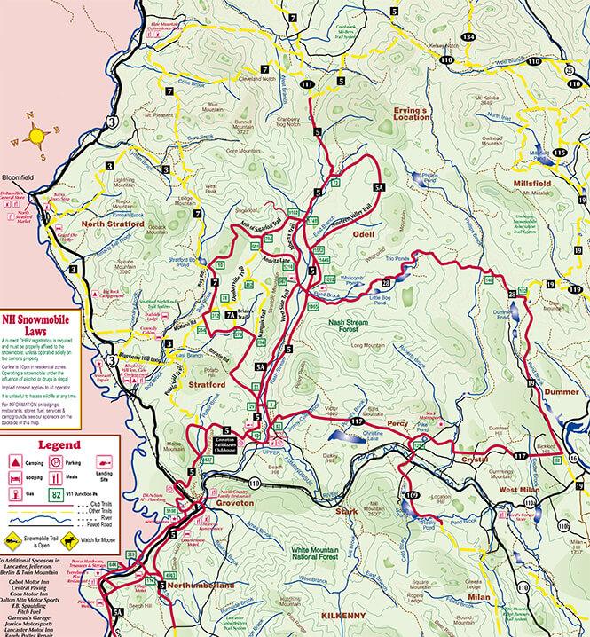 Groveton Snowmobiling Map