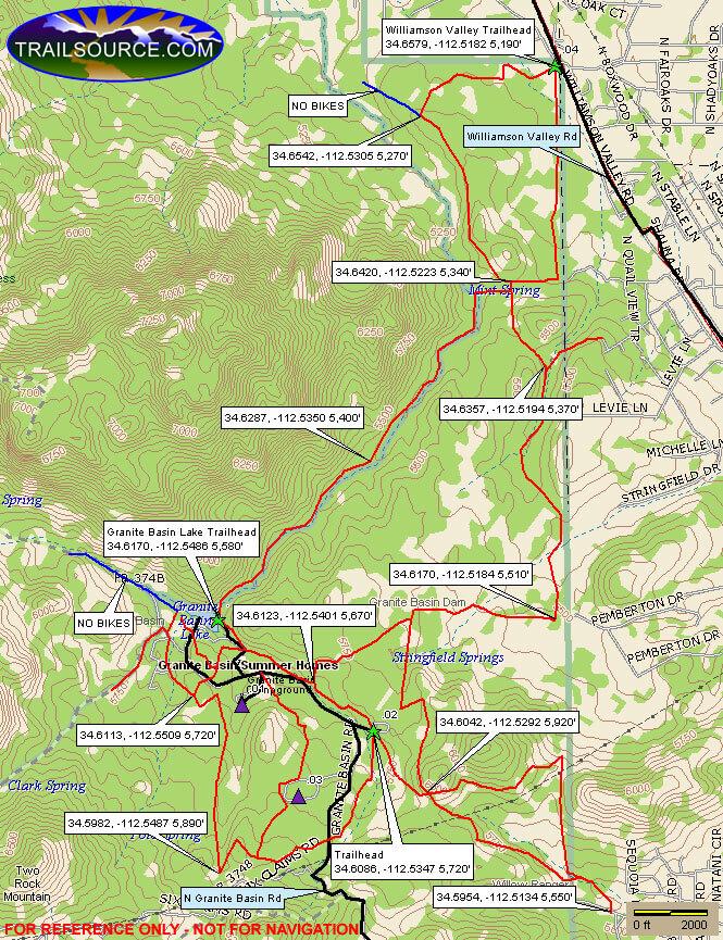 Granite Mountain / Granite Basin Horseback Riding Map