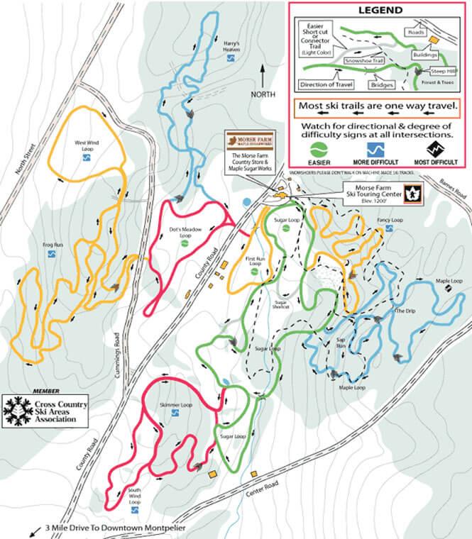 Morse Farm XC Center Cross Country Skiing Map