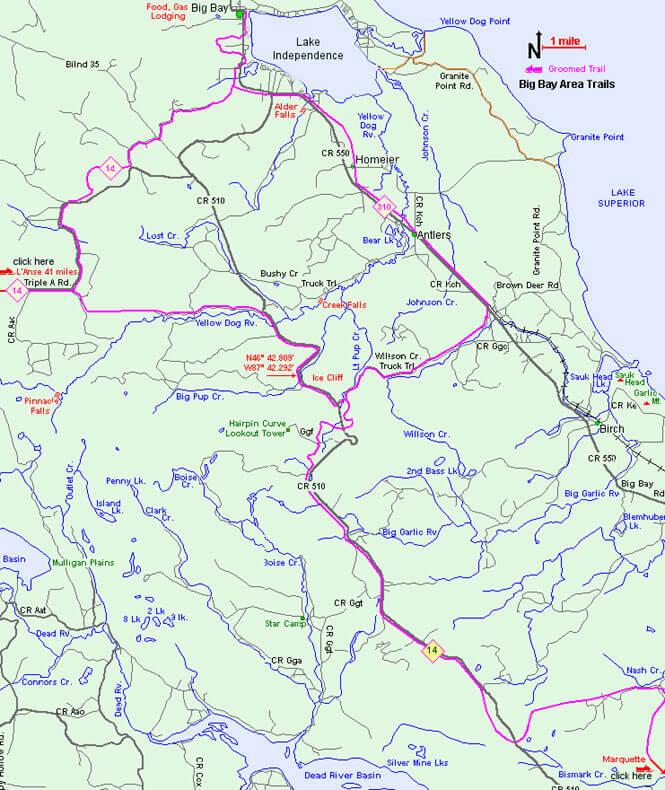 Big Bay Trail System Snowmobiling Map