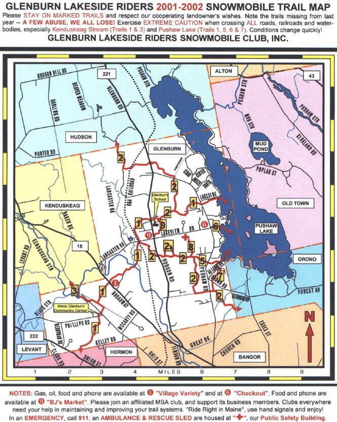 Glenburn Lake Snowmobiling Map