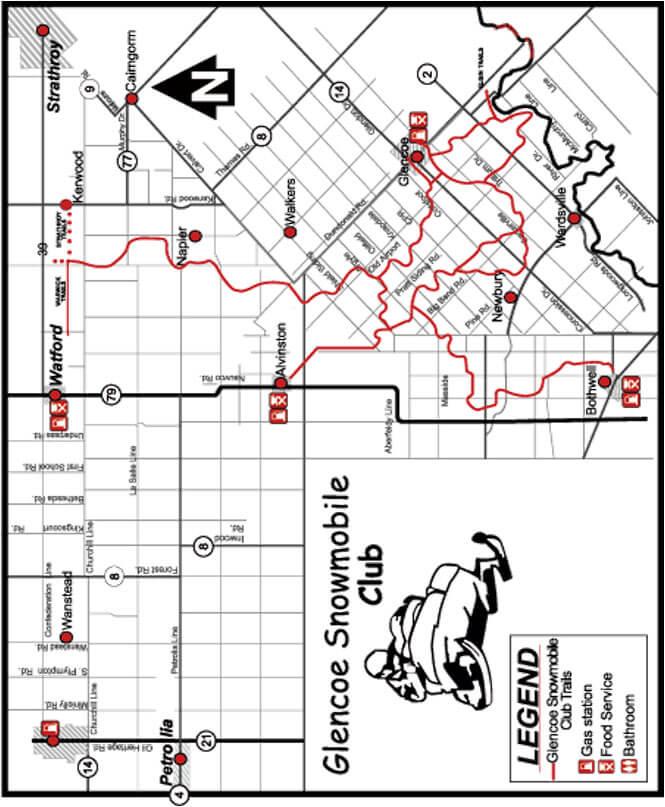 Glencoe Snowmobiling Map