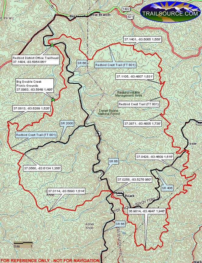 Redbird Crest Trail Hiking Map