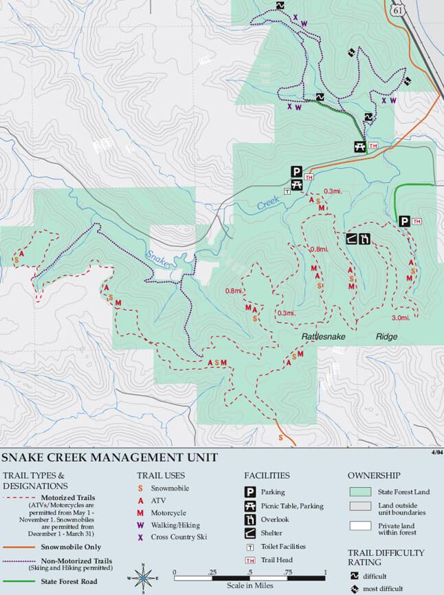 Snake Creek Cross Country Skiing Map