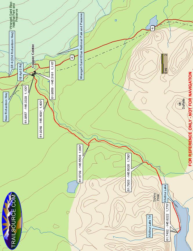 Klutina Lake Bridal Trail Horseback Riding Map