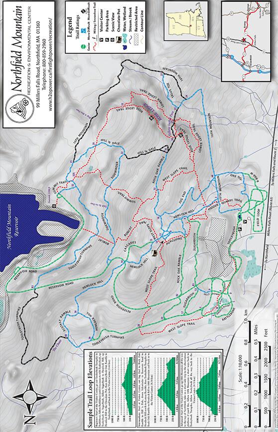 Northfield Mountain Trail System Hiking Map