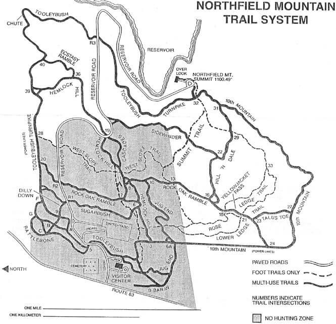 Northfield Mountain Mountain Biking Map