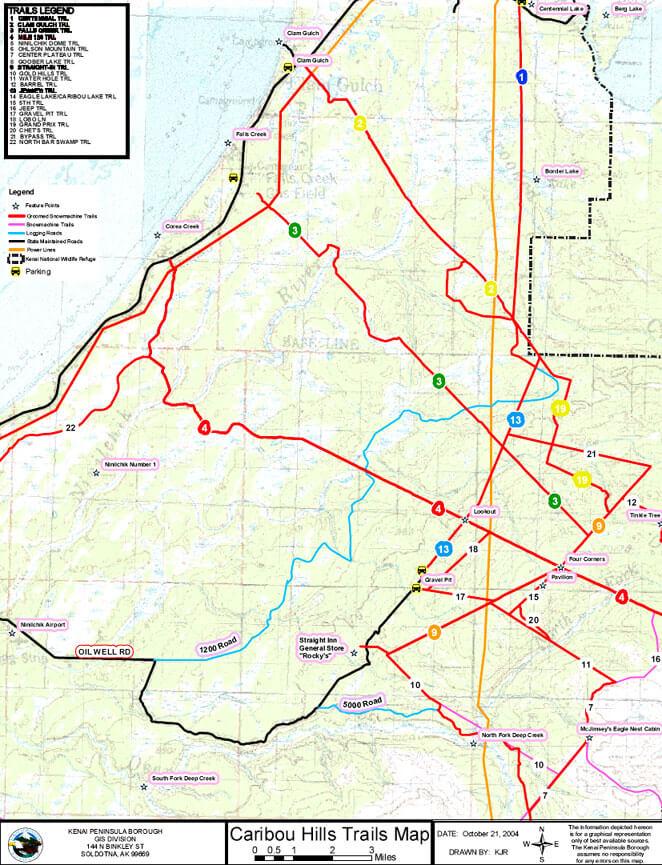 Caribou Hills Snowmobiling Map