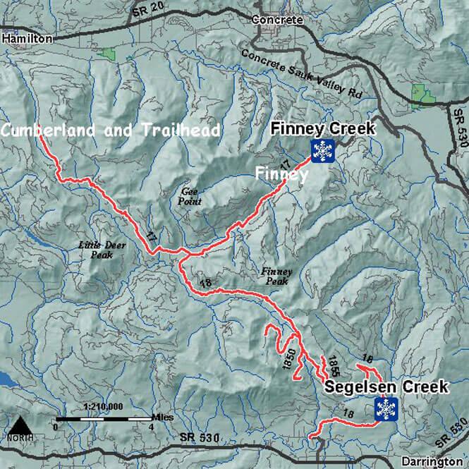 Finney Creek SnoPark Snowmobiling Map