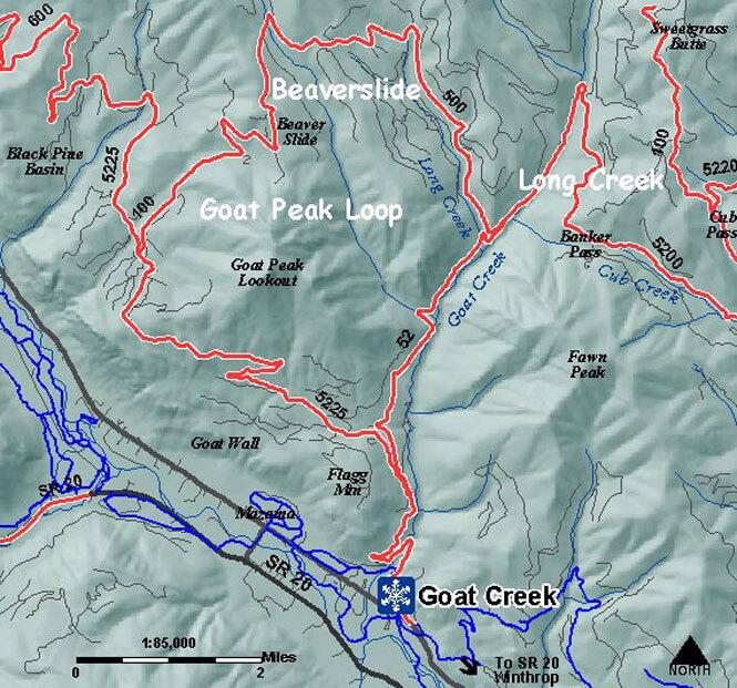 Goat Creek Snopark Snowmobiling Map