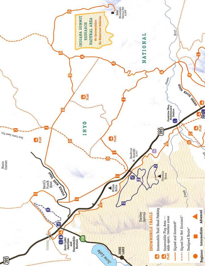 June Lake Snowmobiling Map