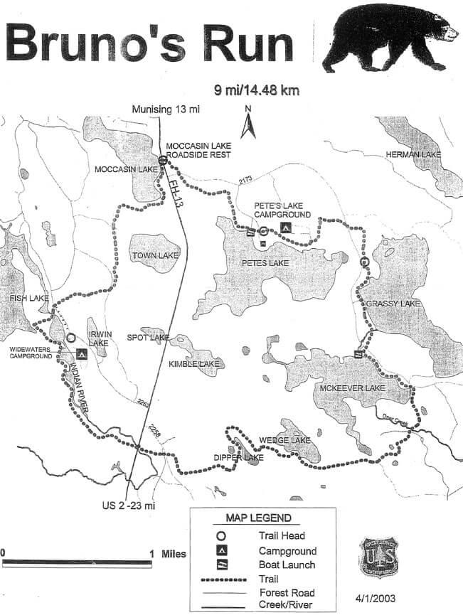 Brunos Run Trail Hiking Map