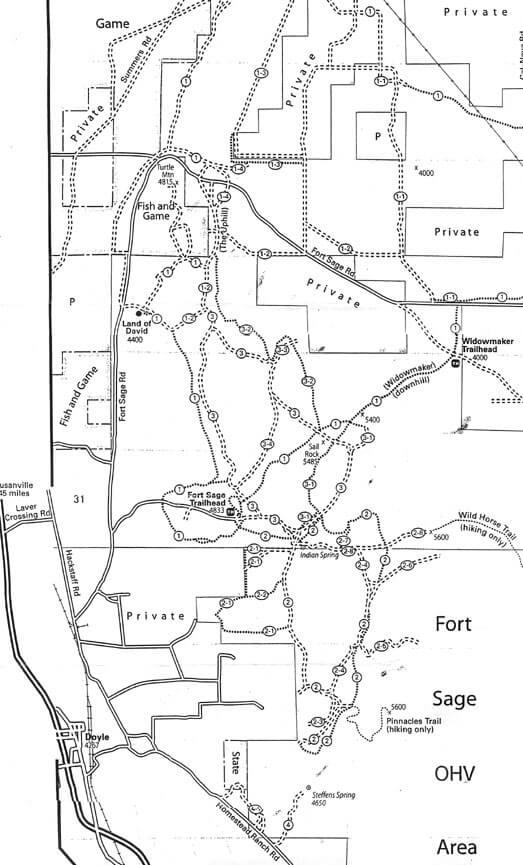 Fort Sage OHV Area ATV Trails Map