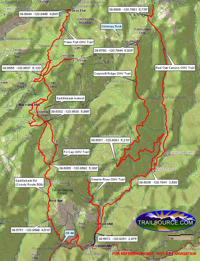 Chimney Rock Trail Dirt Biking Map