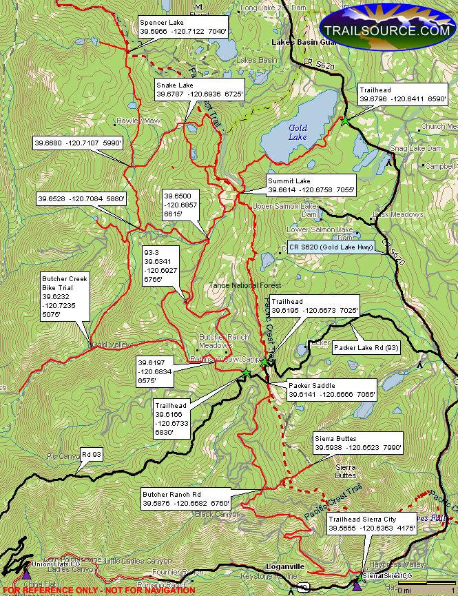 Sierra Buttes OHV Trail Dirt Biking Map