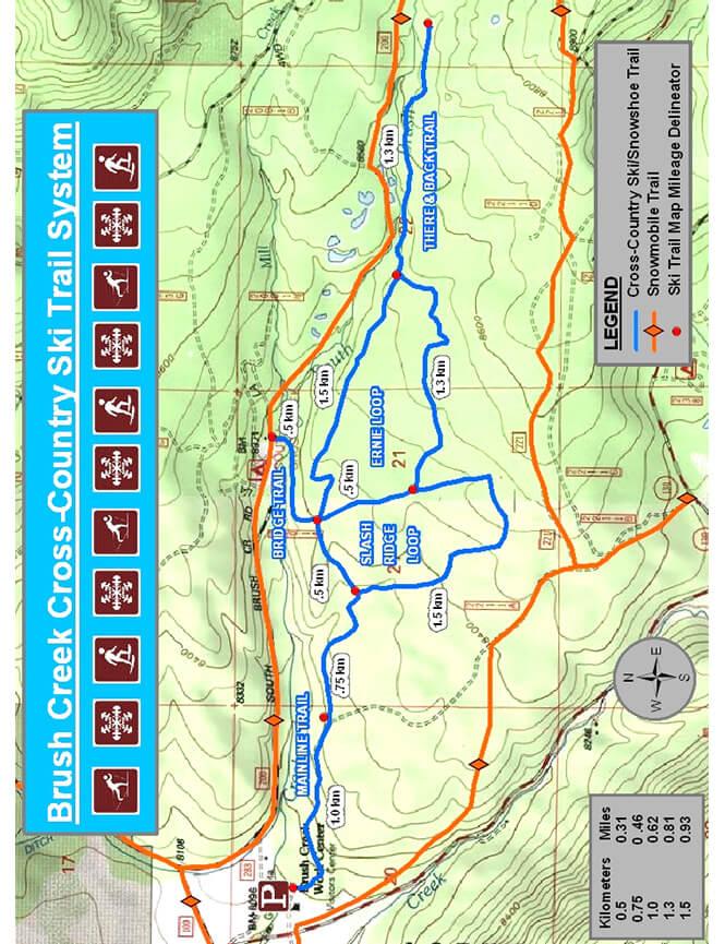 Brush Creek Ski Trails Cross Country Skiing Map
