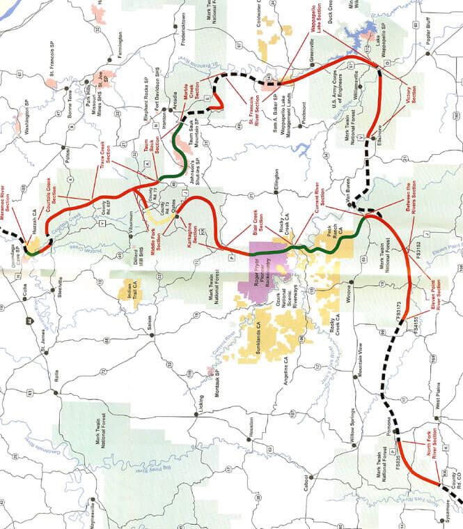 Ozark Trail Mountain Biking Map