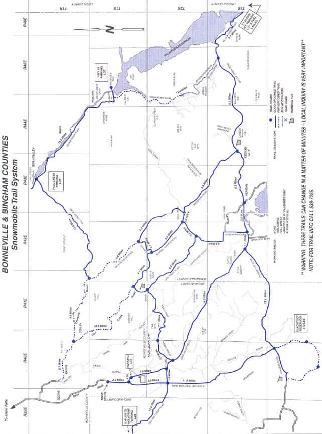 Bonneville / Bingham Counties Snowmobiling Map