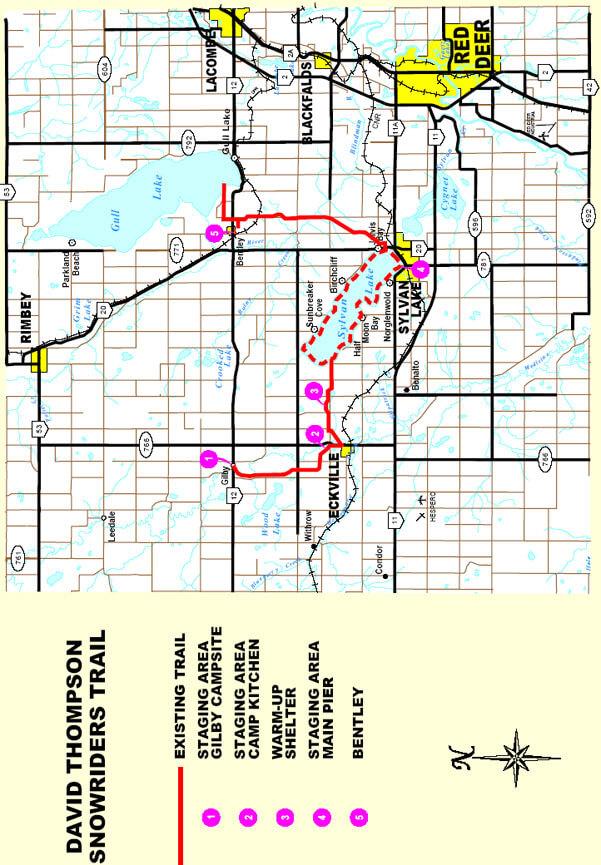 Sylvan Lake - Eckville Snowmobiling Map