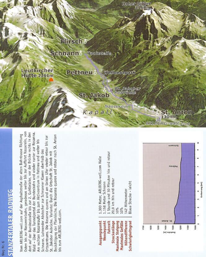 St. Anton - Stanzertaler Radweg Mountain Biking Map