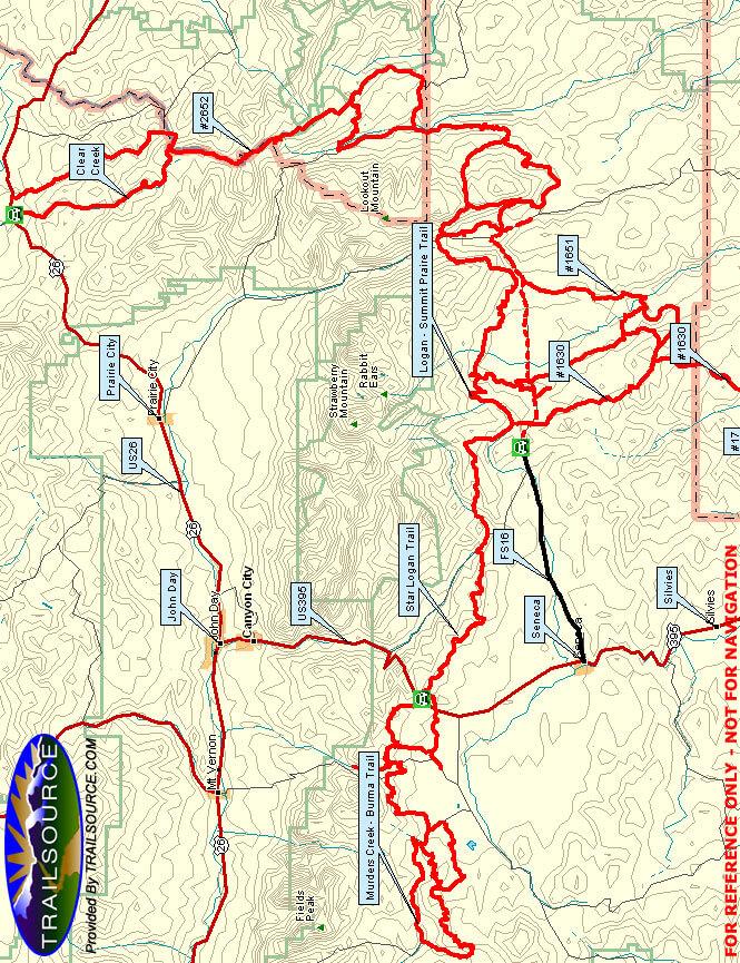 John Day Snowmobiling Map